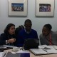 NGO Delegates Alessandra Nilo (Latin America & Caribbean), Rhon Reynolds (Europe) and Mickey Meji (Africa), strategizing